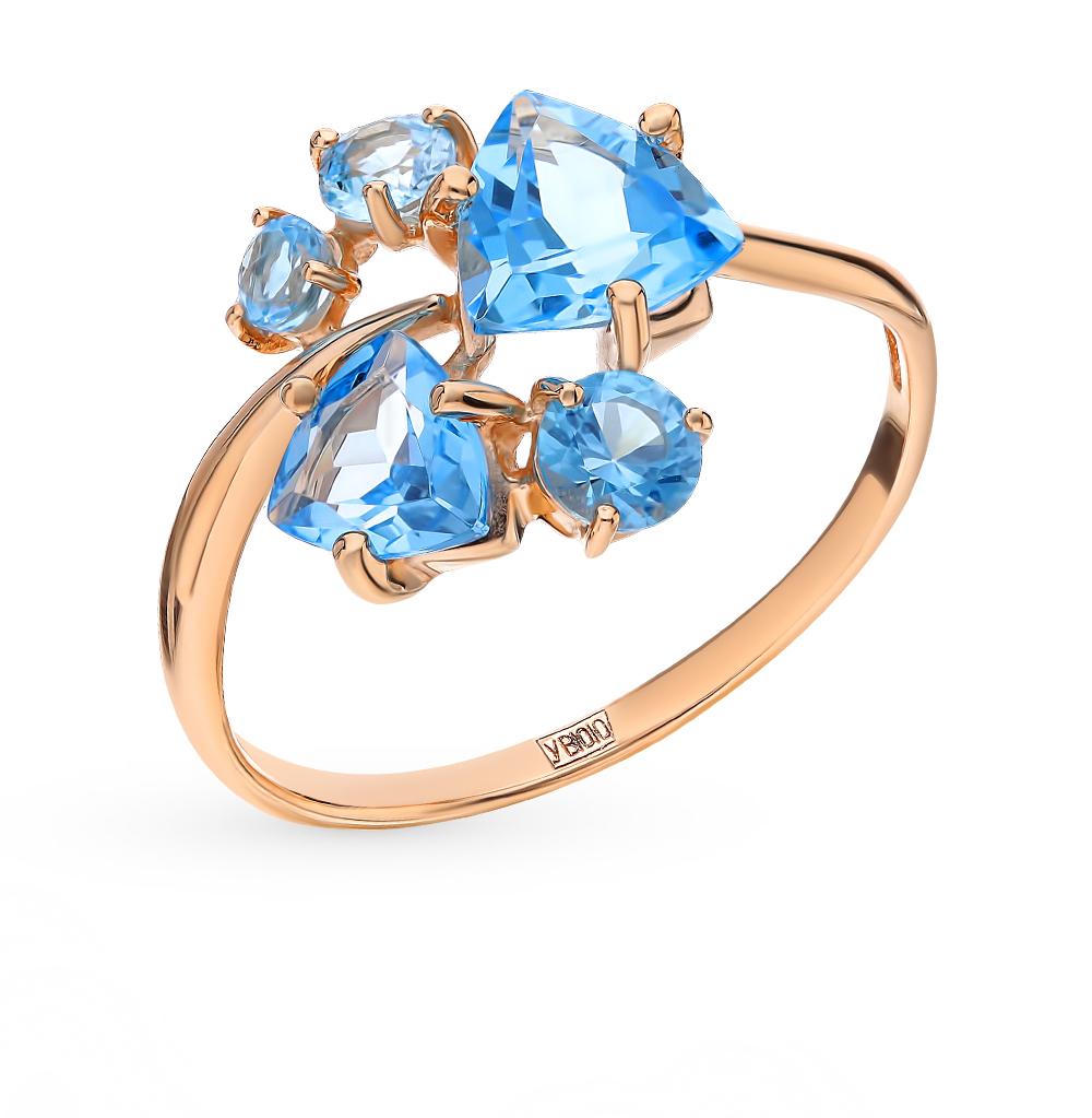 золотое кольцо с топазами SOKOLOV 715212*