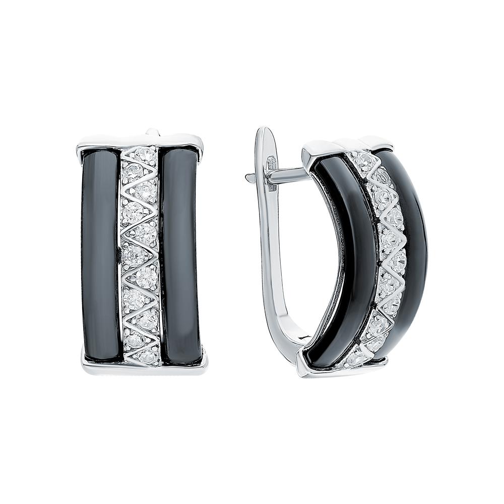 Фото «Серебряные серьги с керамикой и кубическим цирконием»