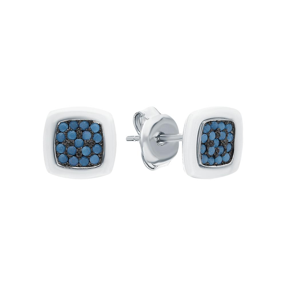 Фото «Серебряные серьги с керамикой и кубическими циркониями»
