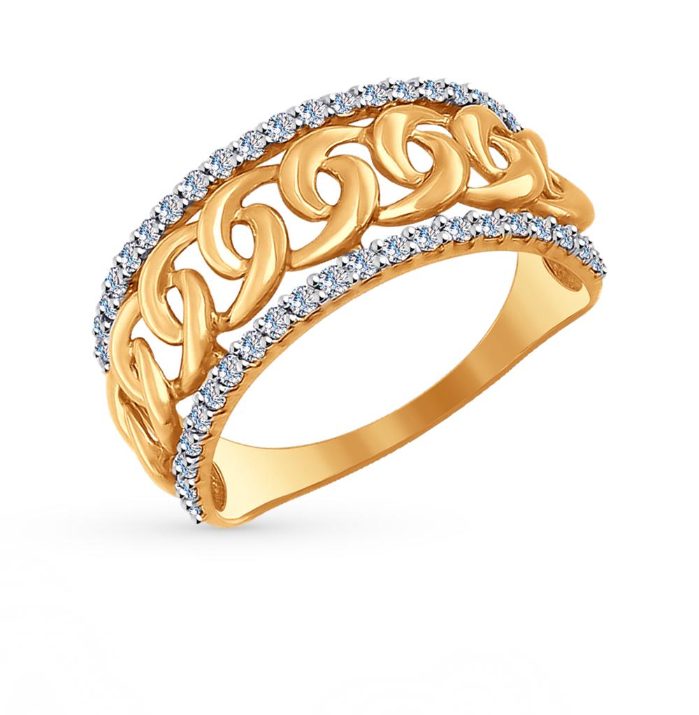 золотое кольцо с фианитами SOKOLOV 017041*