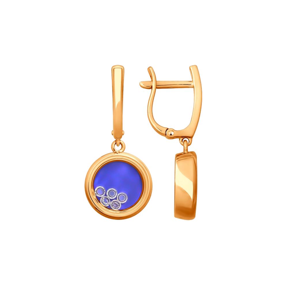 Золотые серьги с фианитами и сапфировыми стёклами SOKOLOV 027849 в Санкт-Петербурге