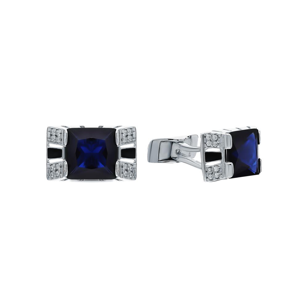 Серебряные запонки с фианитами и эмалью SOKOLOV 94160044 в Екатеринбурге