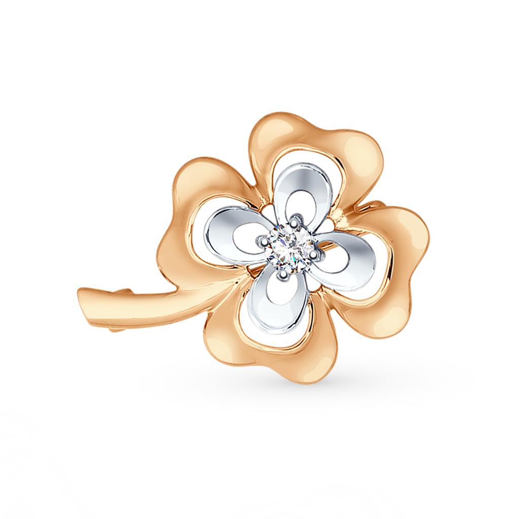 золотая брошь с фианитами SOKOLOV 040218*