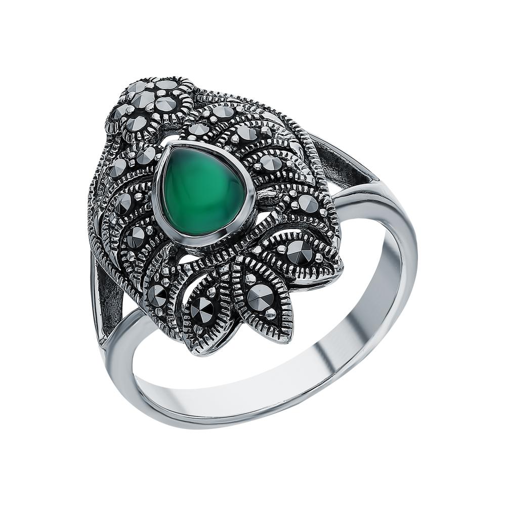 Серебряное кольцо с хризопразами и марказитами swarovski в Санкт-Петербурге