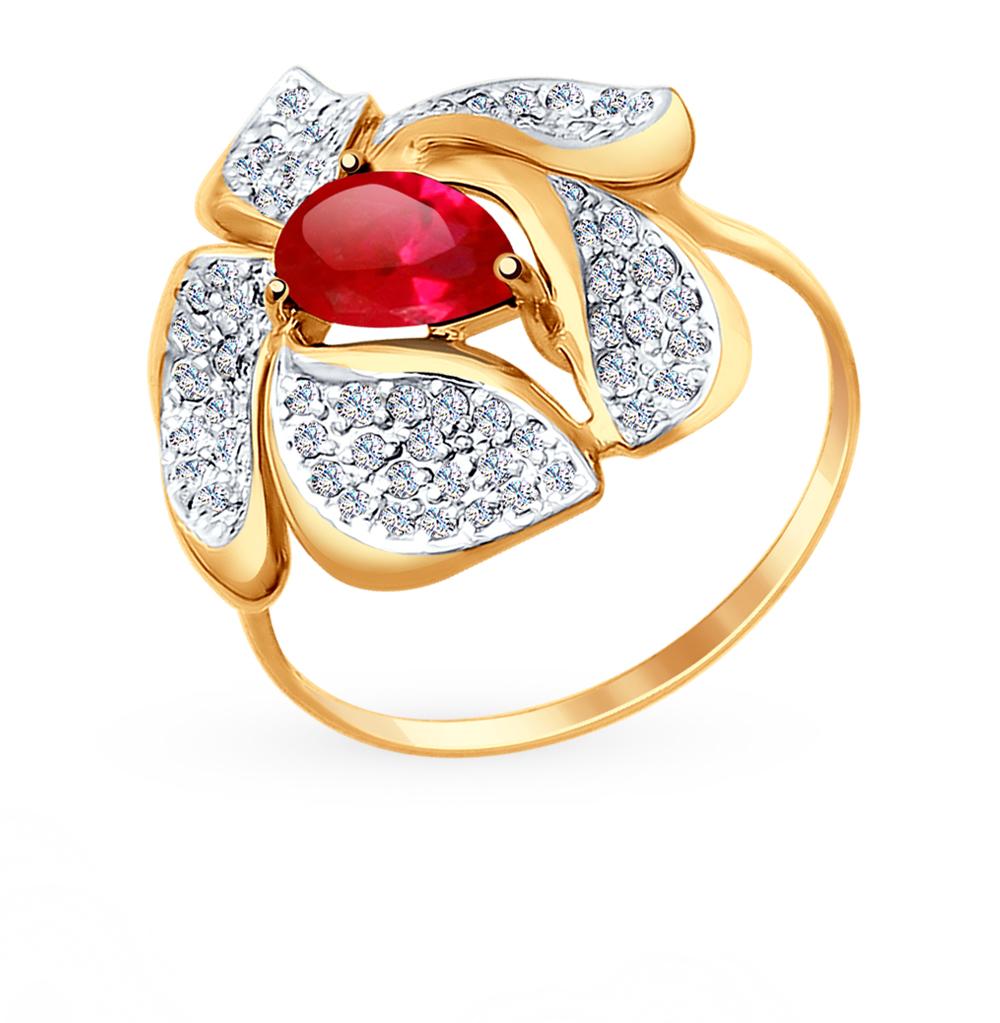 Фото «Золотое кольцо с рубинами, корундом и фианитами SOKOLOV 714710»