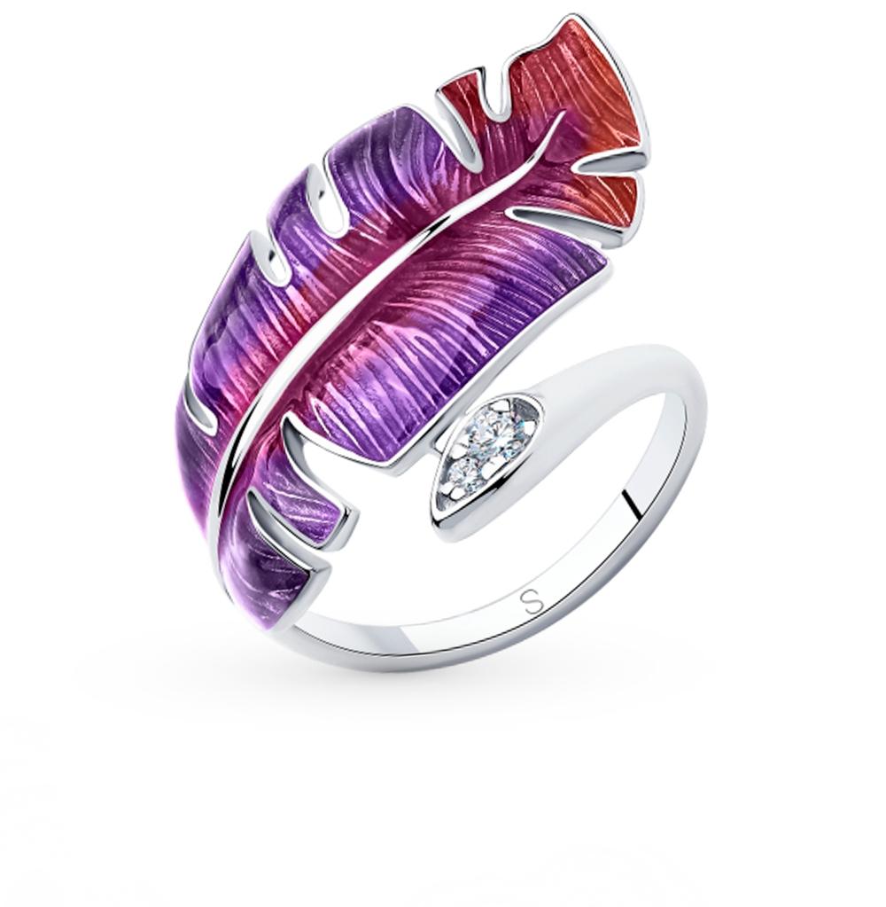 серебряное кольцо с фианитами и эмалью SOKOLOV 94013064