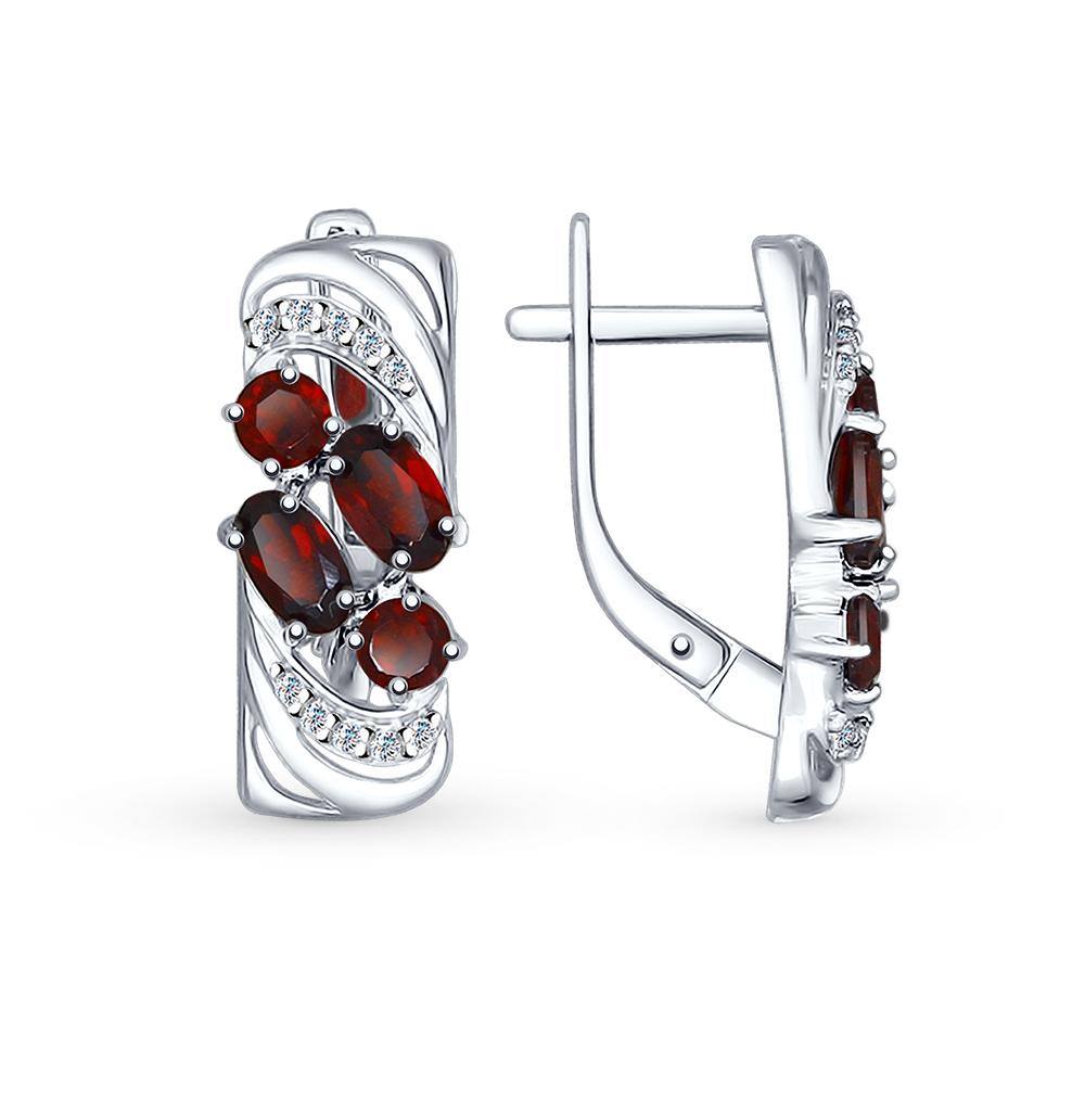 серебряные серьги с фианитами и гранатом SOKOLOV 92021362
