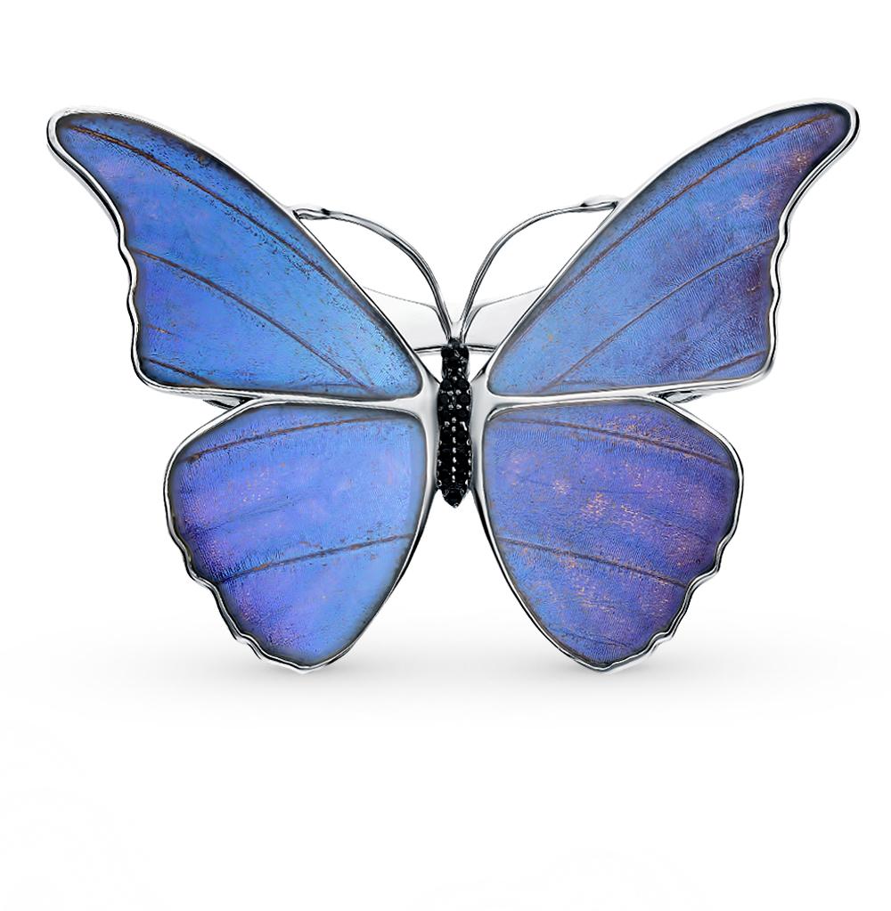 Серебряная брошь с фианитами, эмалью и крыльями бабочки, 6.5 см в Екатеринбурге