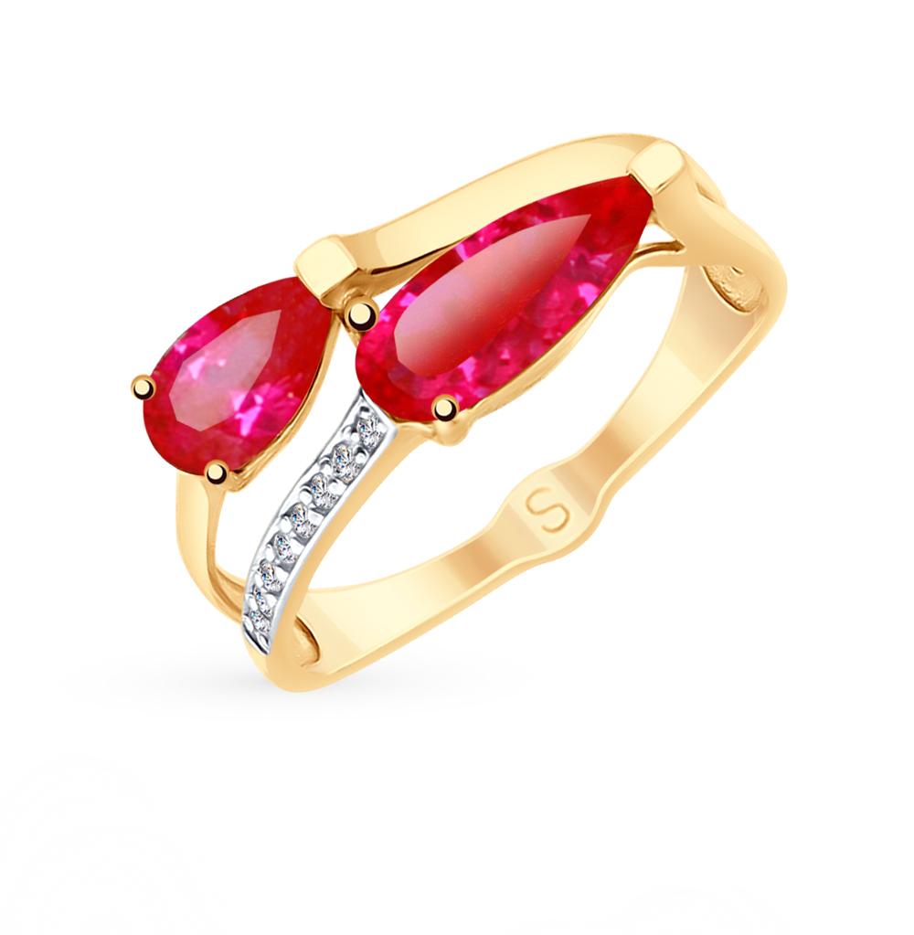 Золотое кольцо с рубинами, корундом и фианитами SOKOLOV 715264* в Екатеринбурге