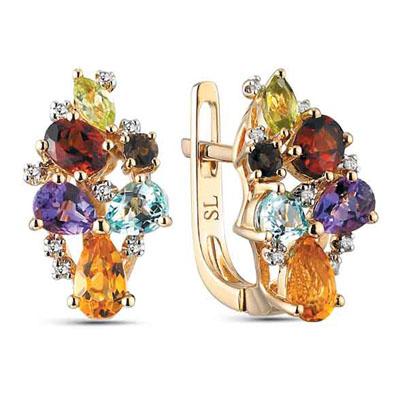 Фото «Золотые серьги с хризолитом, раухтопазами, топазами, гранатом и бриллиантами»
