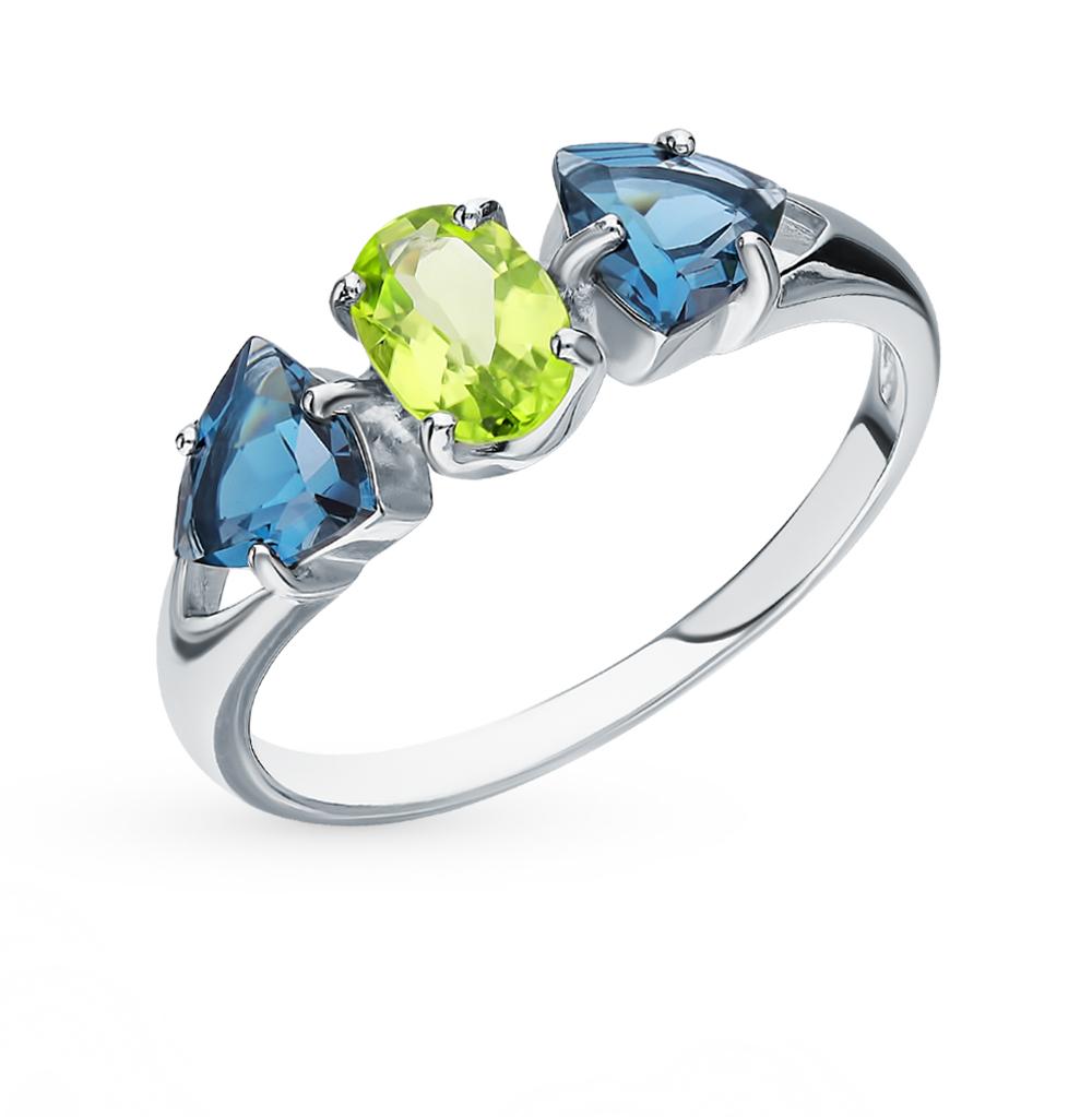 серебряное кольцо с хризолитом и топазами SOKOLOV 92011588