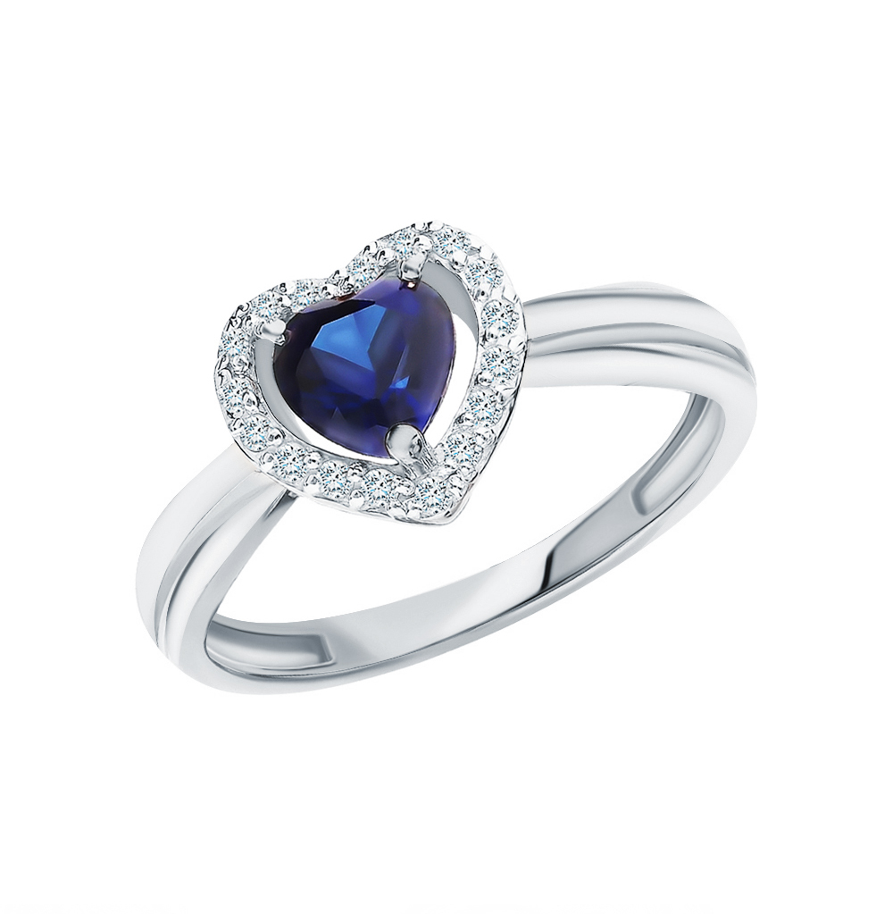Золотое кольцо с сапфирами и бриллиантами в Екатеринбурге