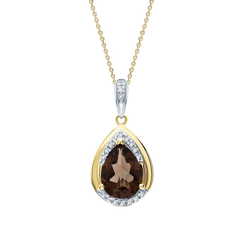 Фото «Золотая подвеска с раухтопазами и бриллиантами»