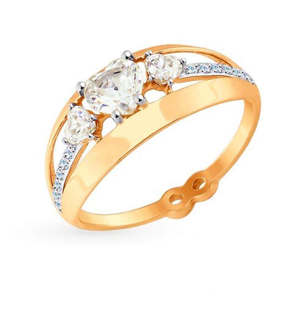 золотое кольцо с фианитами SOKOLOV 017594