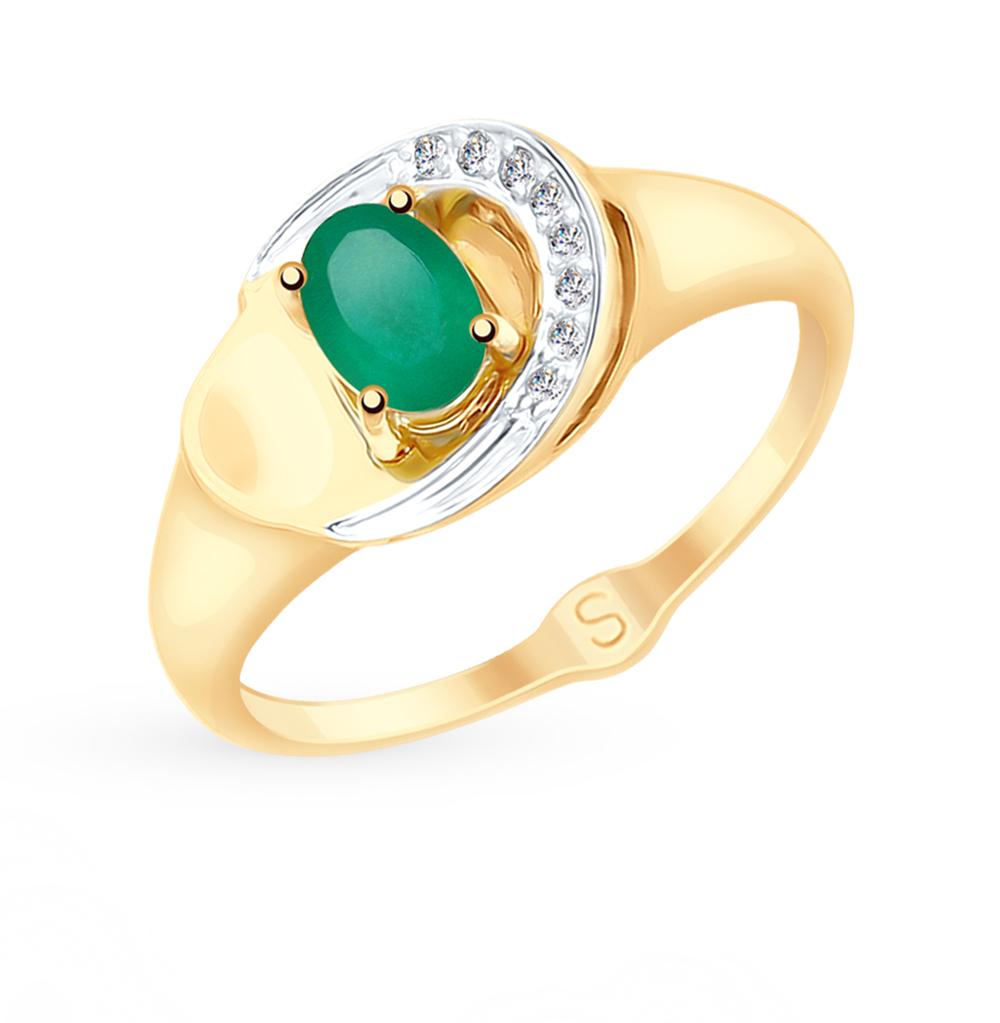 золотое кольцо с фианитами и агатом SOKOLOV 715192*
