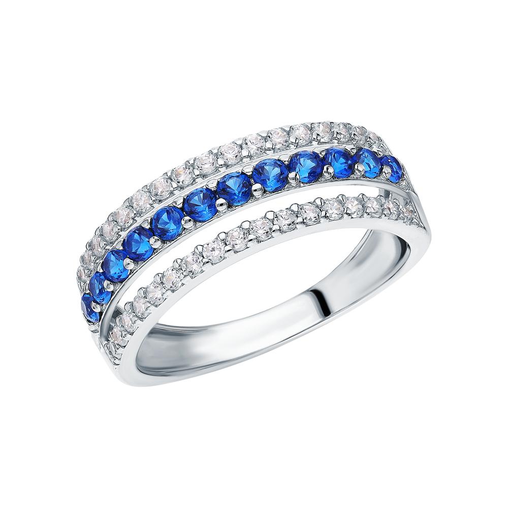 Серебряное кольцо с фианитами и синтетической шпинелью в Екатеринбурге