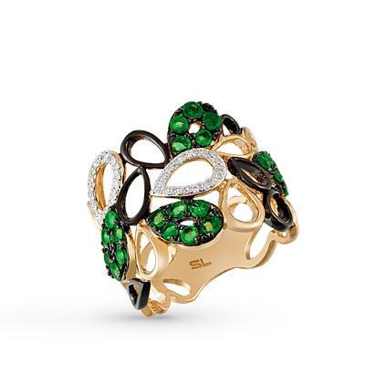 Фото «Золотое кольцо с изумрудами, эмалью и бриллиантами»