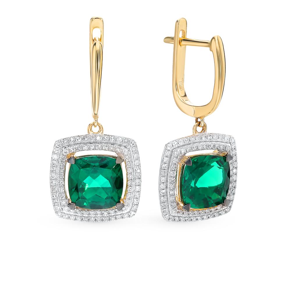 Золотые серьги с изумрудами и бриллиантами в Санкт-Петербурге