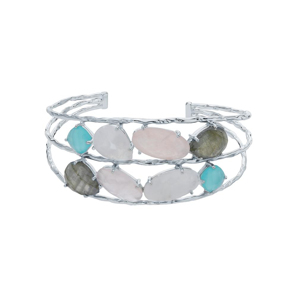 Фото «Серебряный браслет с кварцем, алпанитом, фианитами и лунными камнями»