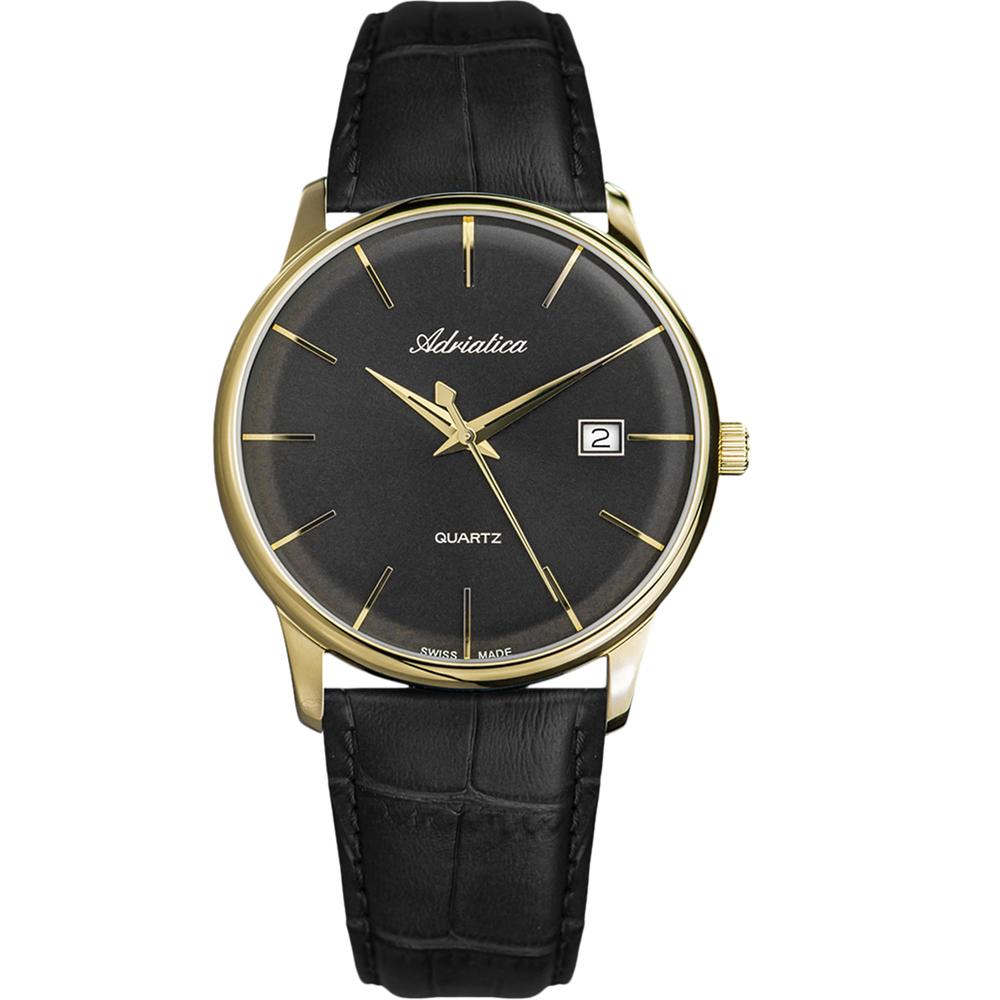 Мужские часы A8242.1214Q на кожаном ремешке с минеральным стеклом