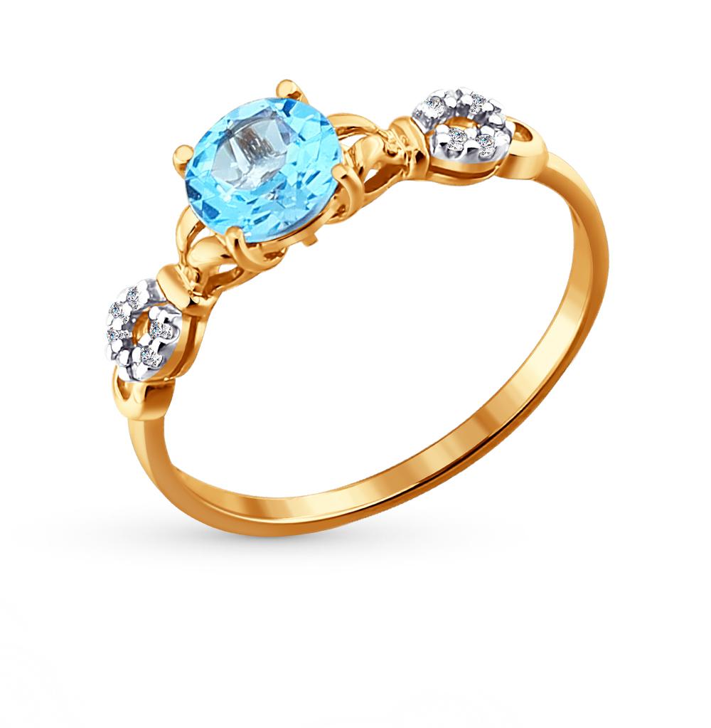 золотое кольцо с топазами и фианитами SOKOLOV 713806*