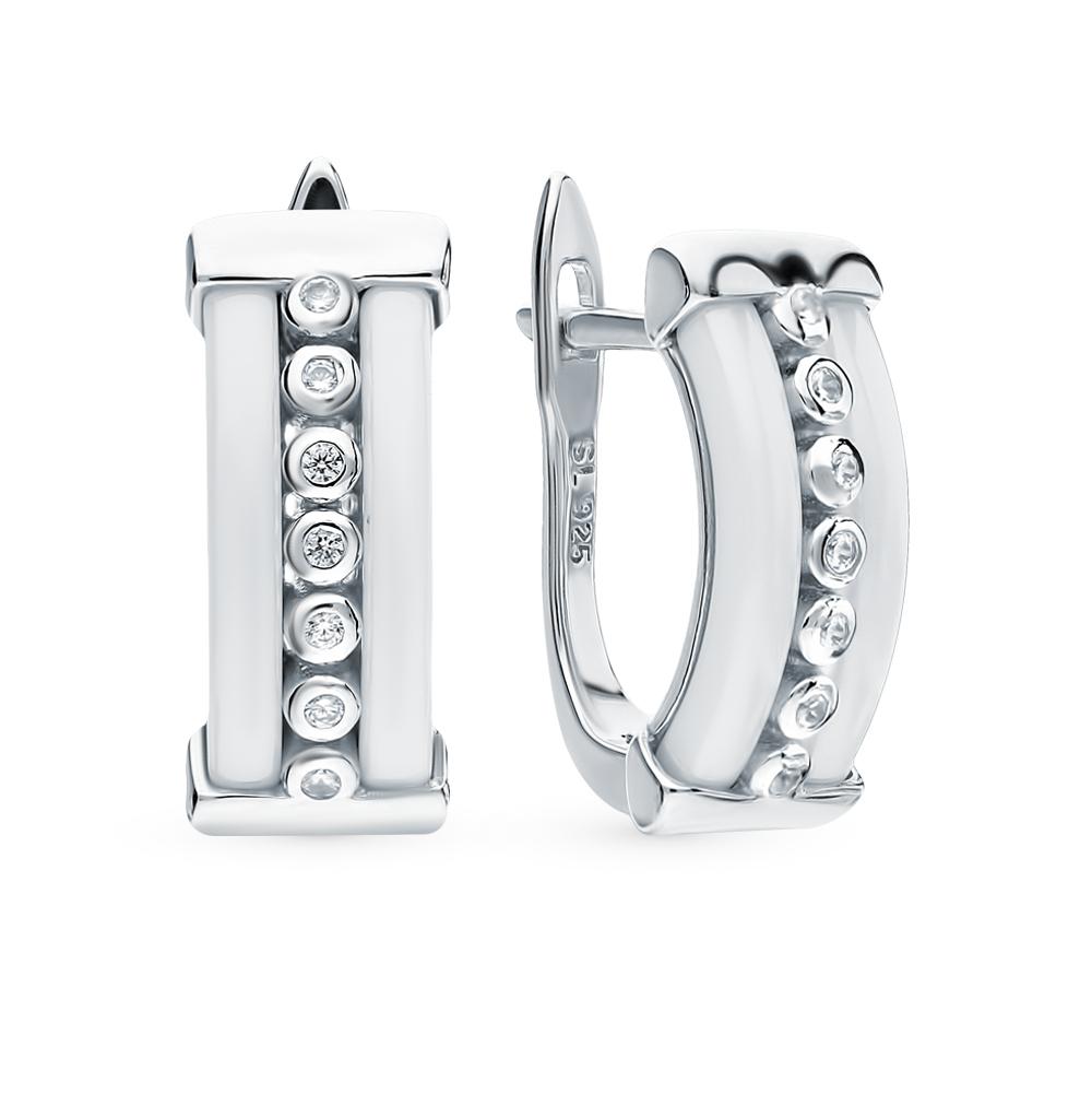 серебряные серьги с керамикой и фианитами