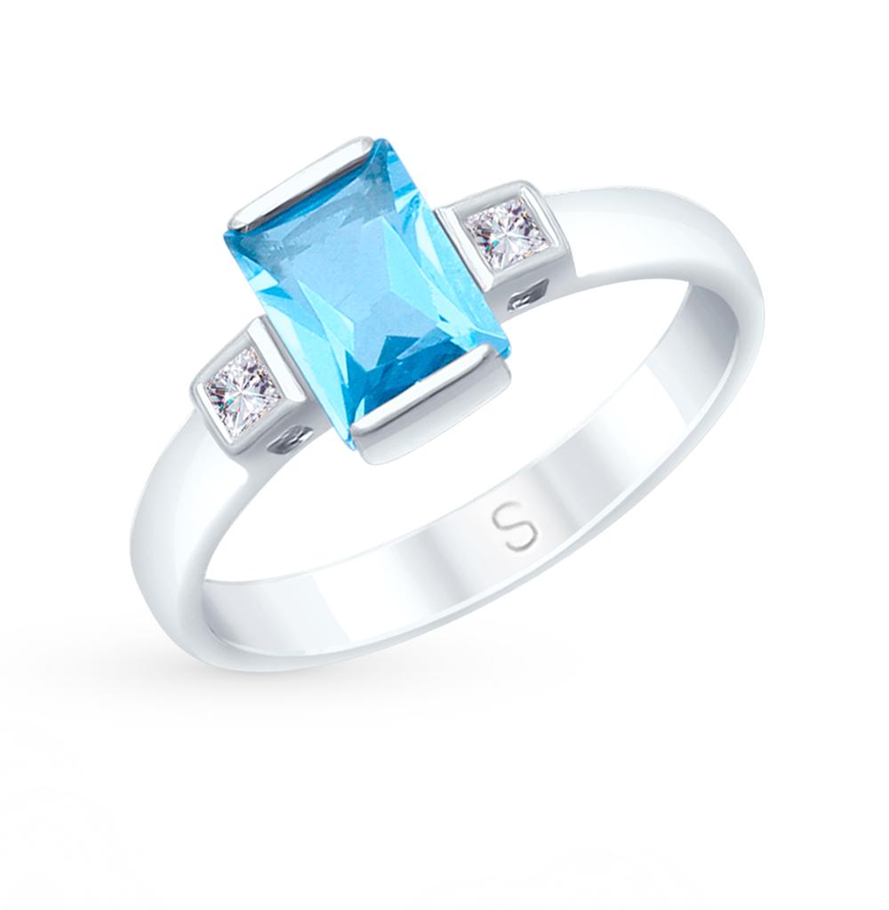 Золотое кольцо с топазом и фианитами SOKOLOV 715049*