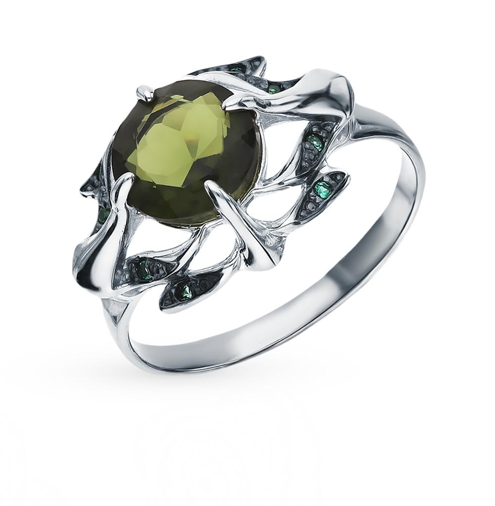 серебряное кольцо с турмалинами и фианитами