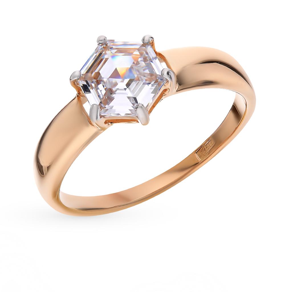 золотое кольцо с фианитами SOKOLOV 81010334*