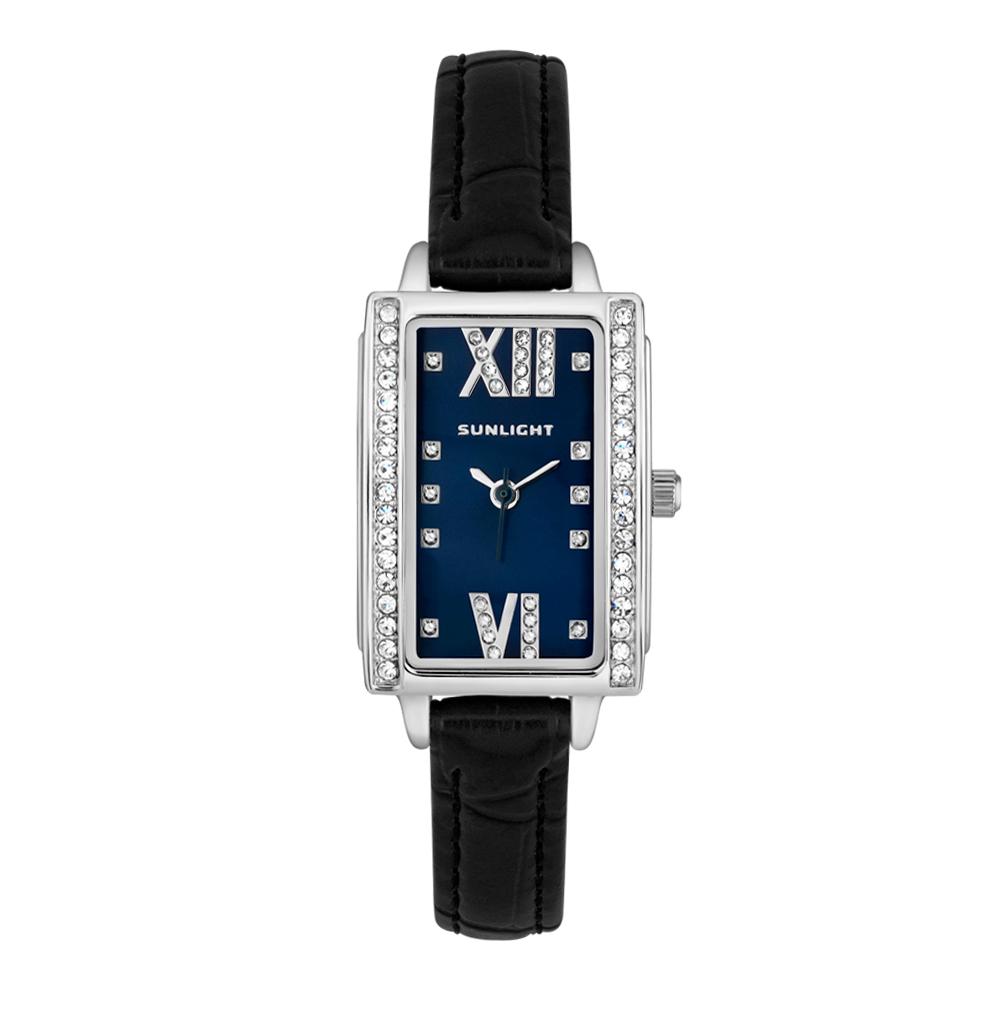 44622d4277af Прямоугольные женские часы с кристаллами на кожаном ремне