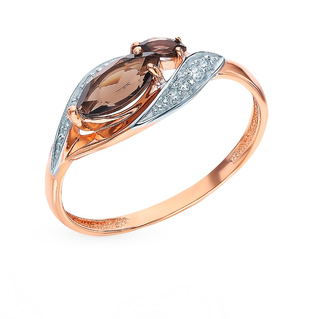 Золотое кольцо с раухтопазами и фианитами в Екатеринбурге