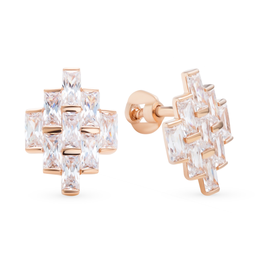 Золотые серьги с кристаллами swarovski в Екатеринбурге