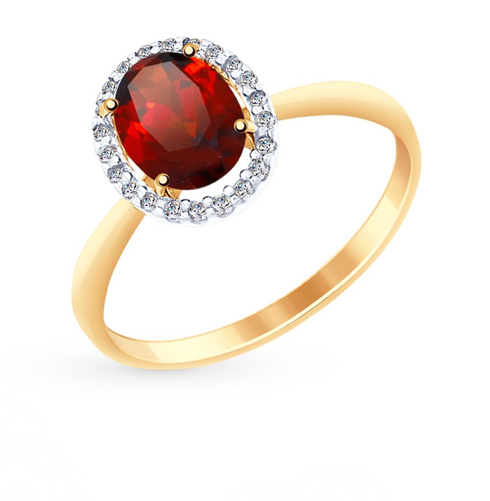 Золотое кольцо с фианитами и гранатом SOKOLOV 714964* в Екатеринбурге