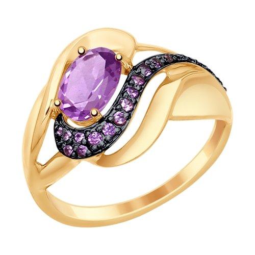 Золотое кольцо с аметистом и фианитами SOKOLOV 714782* в Санкт-Петербурге