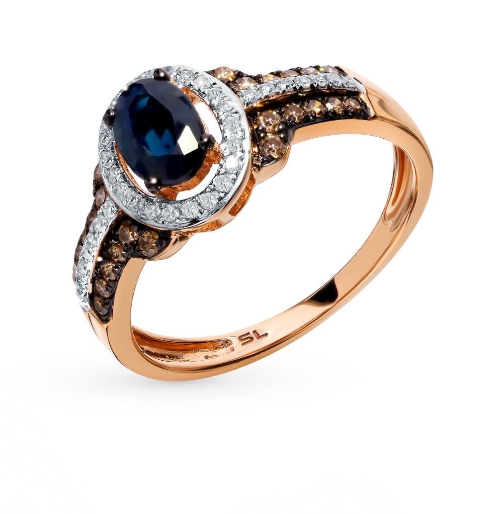 Золотое кольцо с коньячными бриллиантами и сапфиром в Екатеринбурге