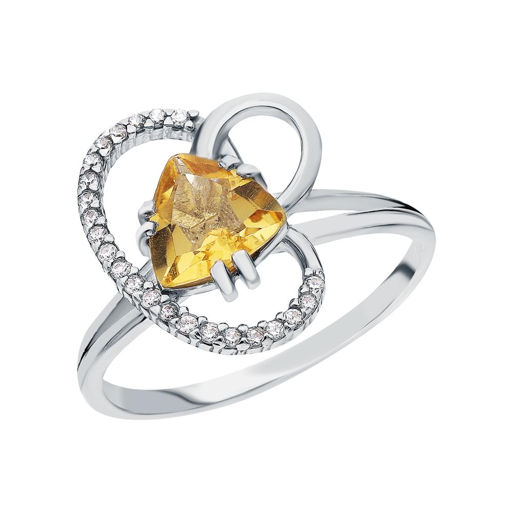 Фото «Серебряное кольцо с цитринами и кубическими циркониями»