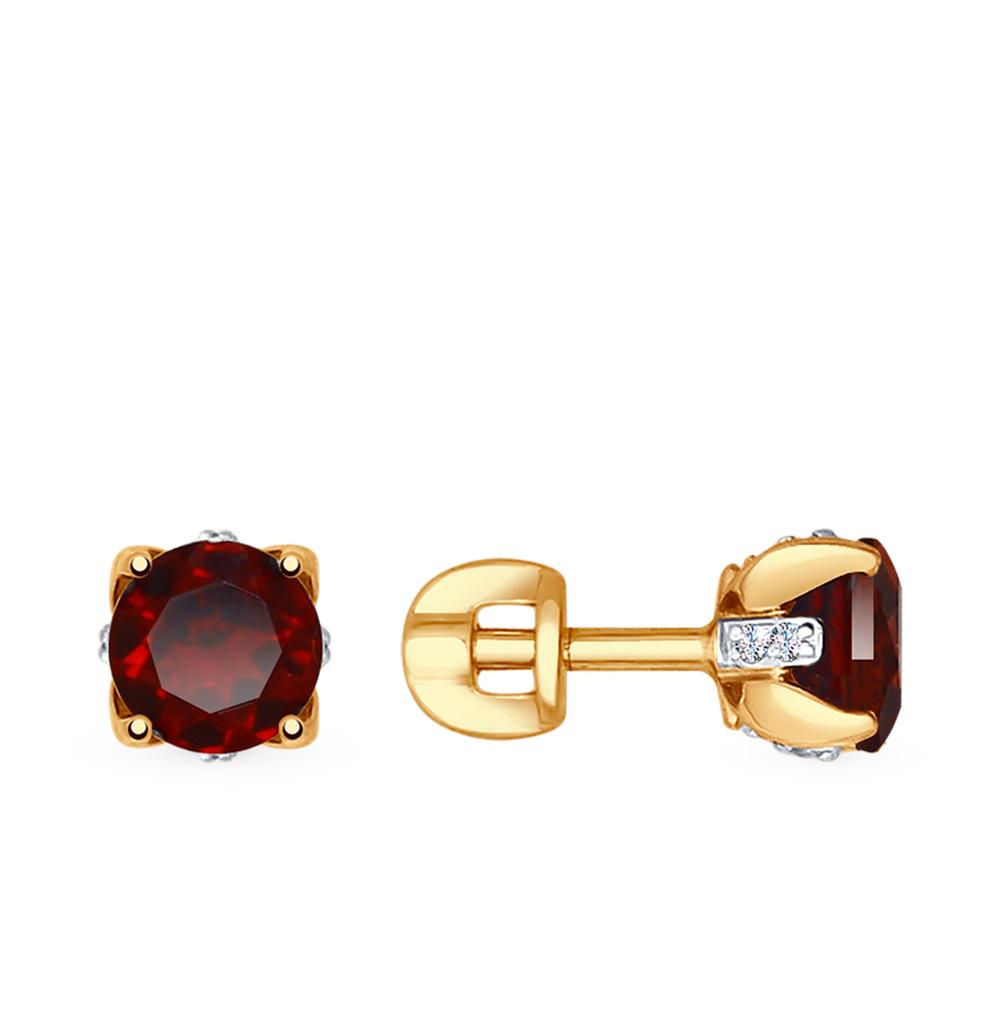 золотые серьги с фианитами и гранатом SOKOLOV 725198*