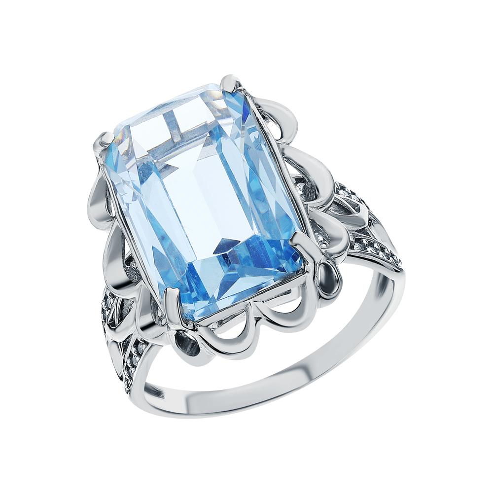 Фото «Серебряное кольцо с фианитами, топазами синтетическими и топазами синтетическими»