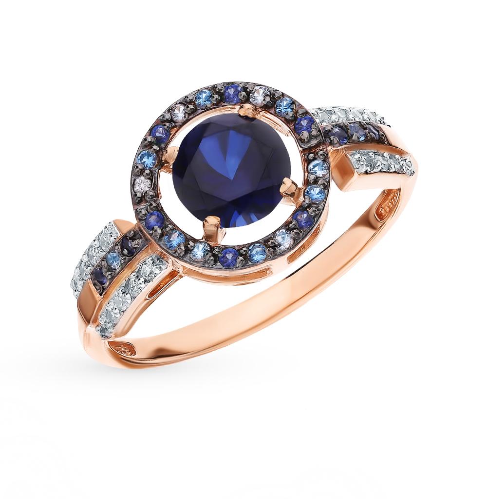 Фото «Золотое кольцо с сапфирами, топазами и фианитами»