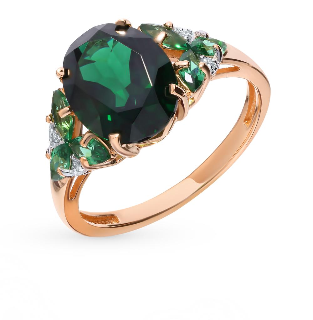 золотое кольцо с турмалинами и фианитами