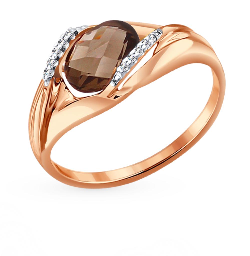 золотое кольцо с топазами и фианитами SOKOLOV 714064*