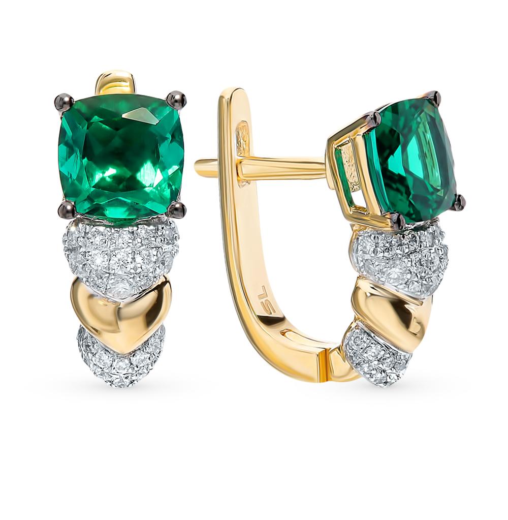 Фото «Золотые серьги с бриллиантами и изумрудом»
