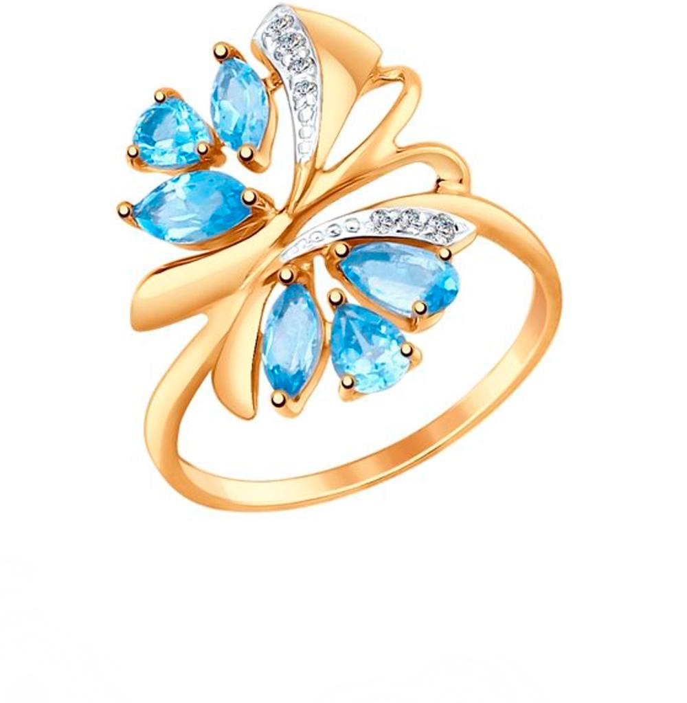 золотое кольцо с топазами и фианитами SOKOLOV 714736*