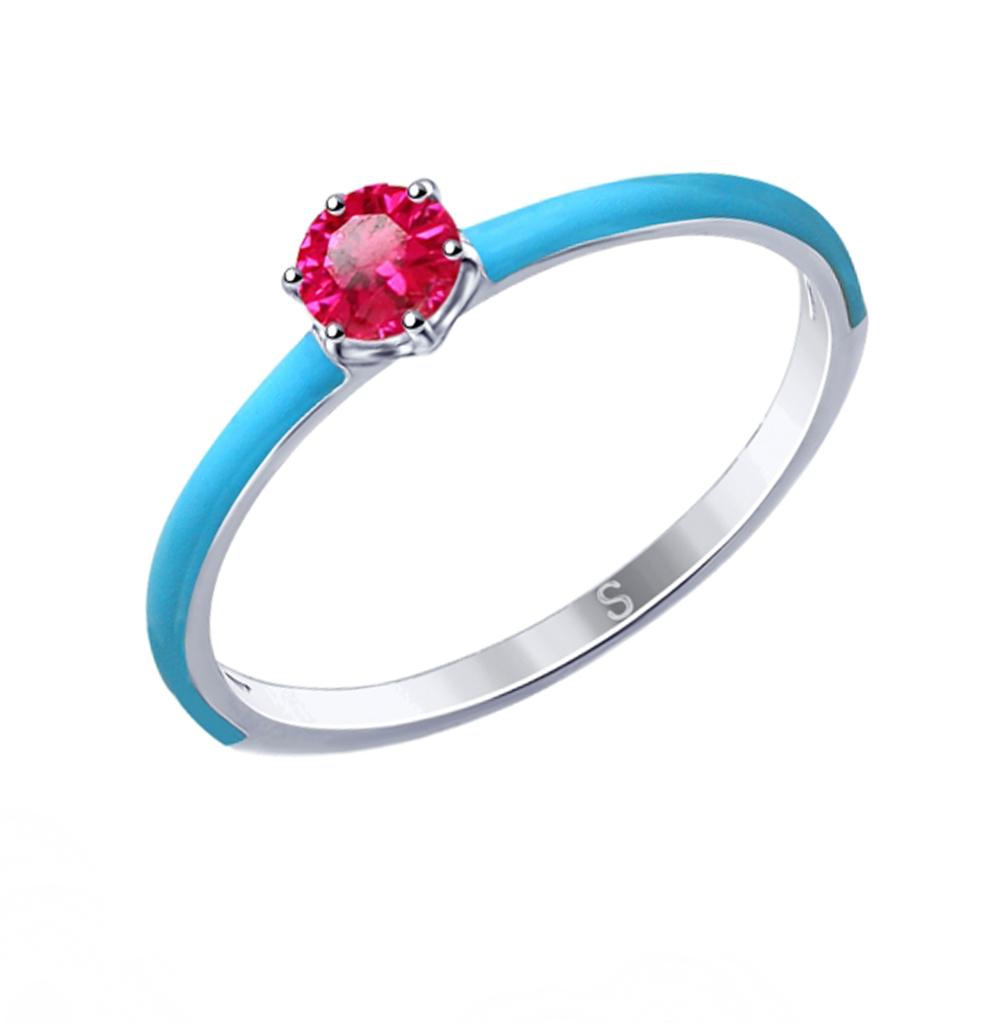 Фото «Серебряное кольцо с корундом и эмалью SOKOLOV 94012768»
