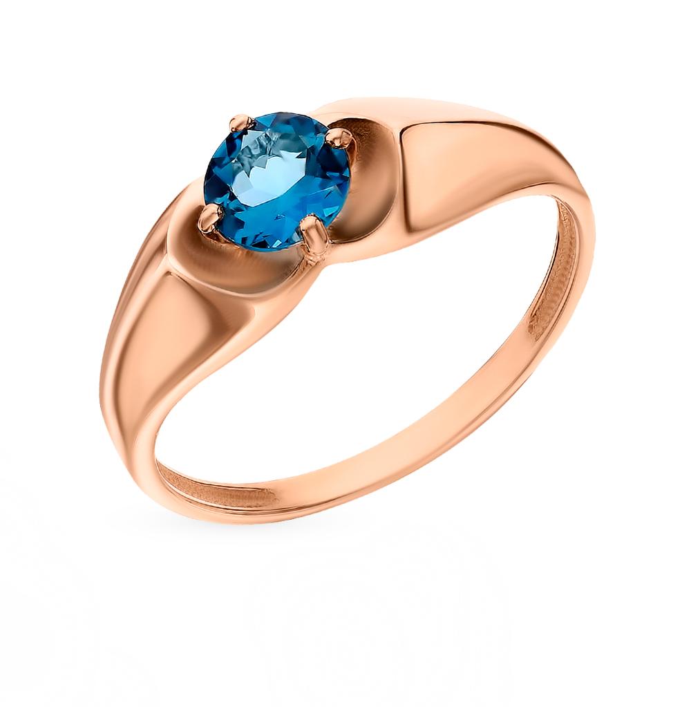 Золотое кольцо с топазами ЮВЕЛИРНЫЕ ТРАДИЦИИ К120-4209ТЛ*: розовое золото 585 пробы, топаз — купить в интернет-магазине SUNLIGHT, фото, артикул 93746