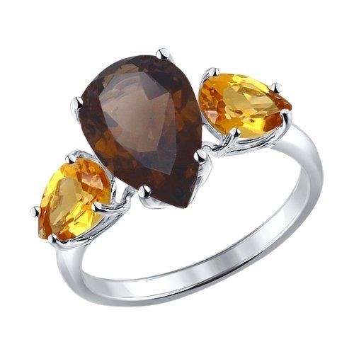 Серебряное кольцо с раухтопазами и цитринами SOKOLOV 92010999 в Екатеринбурге
