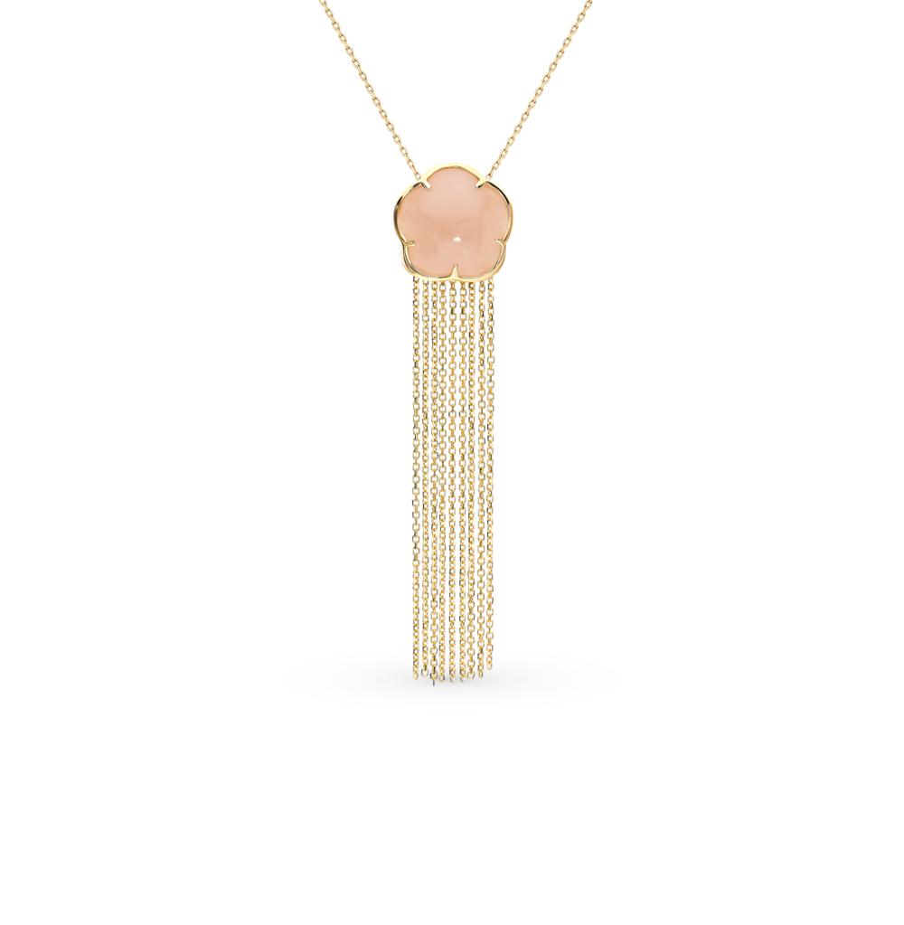 Золотое шейное украшение с лунным камнем