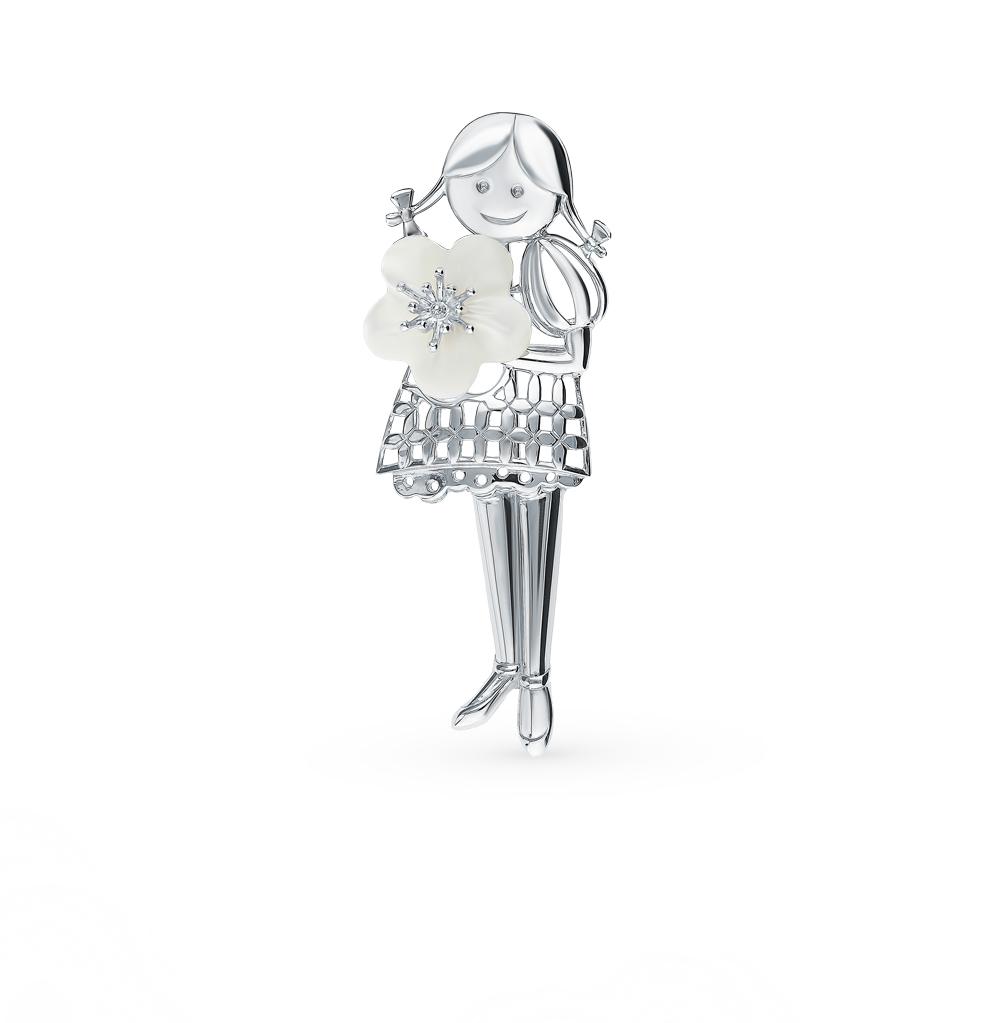 серебряная брошь с перламутром