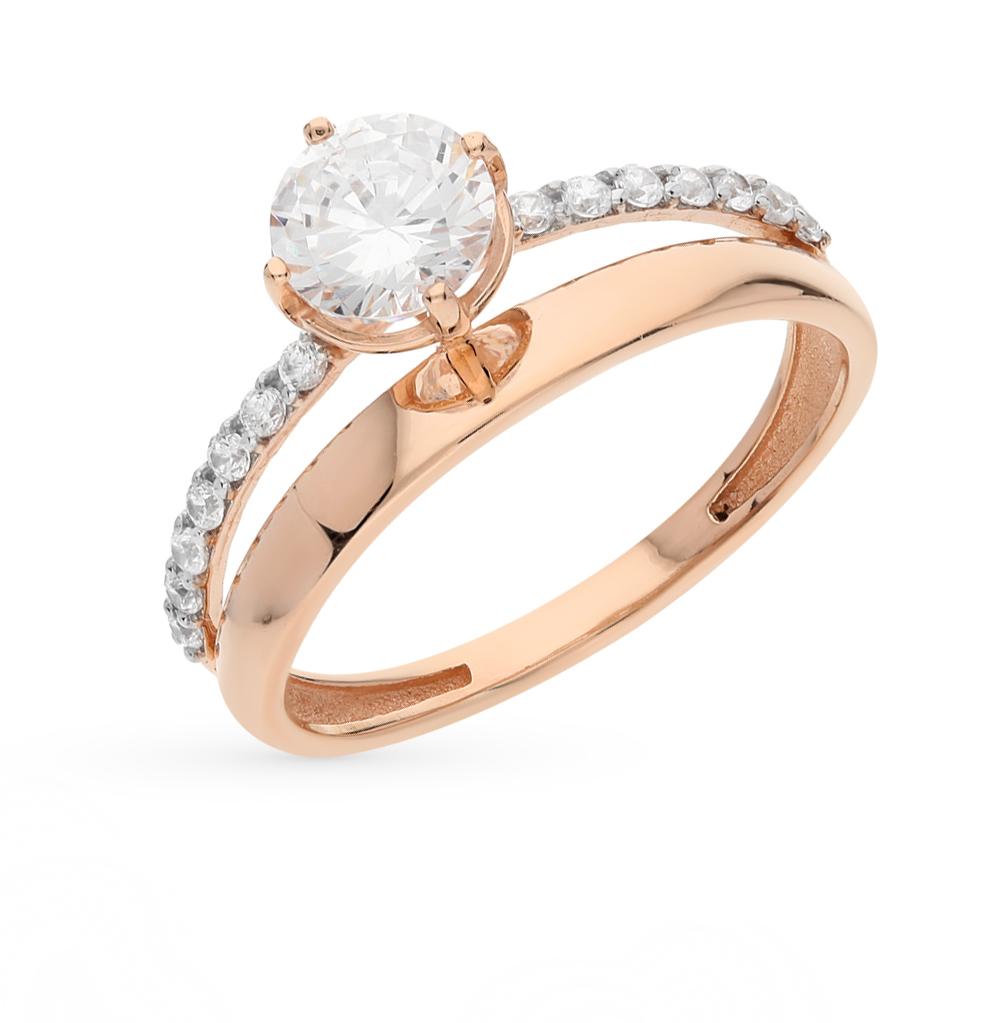 Золотое кольцо с фианитами СОРОКИН 70071400   красное и розовое ... 0e45c93155141