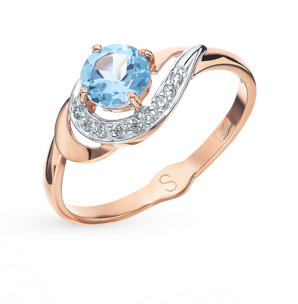 Фото «Золотое кольцо с топазом и фианитами SOKOLOV 715561*»